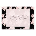 "RSVP  pink peony on black 3.5"" X 5"" Invitation Card"