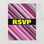 "[ Thumbnail: ""RSVP"" + Pink/Purple/Grey Stripes Postcard ]"