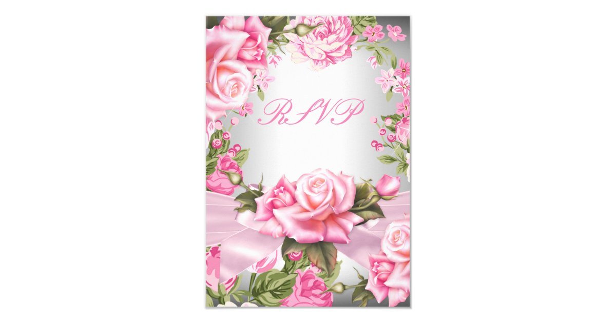RSVP Pink Rose Bow Silver Floral Birthday Party Card  Zazzle