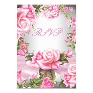 RSVP Pink Rose Bow Silver Floral Birthday Party 3.5x5 Paper Invitation Card