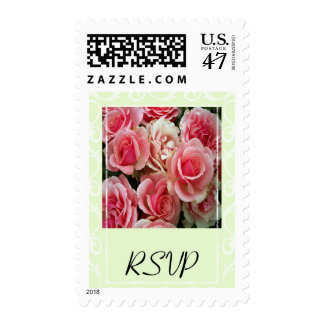 RSVP Pink Roses on Spring Green Postage