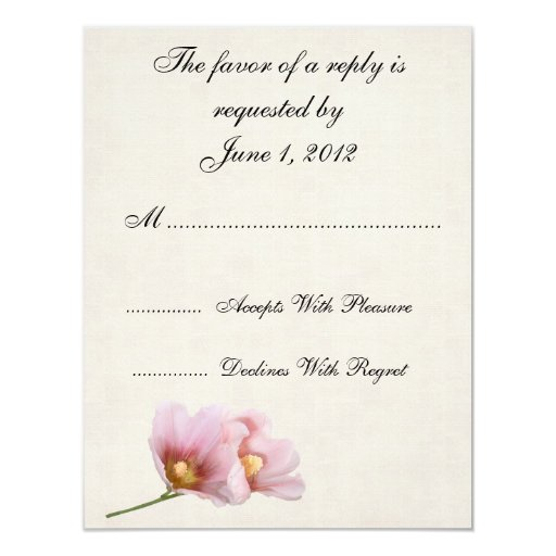 RSVP pink roses wedding invites