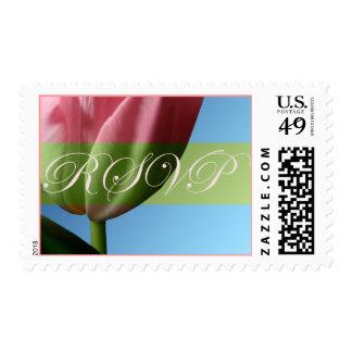 RSVP Pink Tulip Wedding Postage Stamp