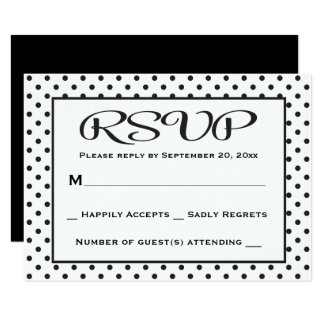 RSVP Polka Dot Black And White Wedding / Party Card