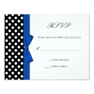 RSVP - Polka Dot Blue Bow Wedding Response Card