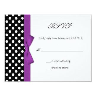 RSVP - Polka Dot Purple Bow Wedding Response Card