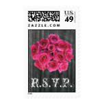 RSVP Postage Stamp - Barnwood & Hot Pink Roses