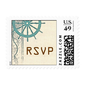 RSVP postage stamp with boat's wheel