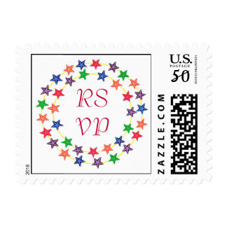 RSVP postage stamps, Circles of colorful stars
