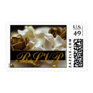 RSVP Postage Stamps Gold Cream Wedding Rose
