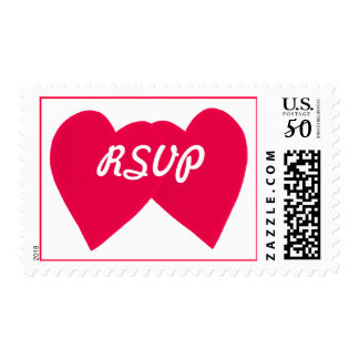 RSVP postage stamps, leaning red hearts