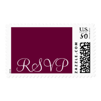 RSVP Postage -Wine Stamp with White Letters