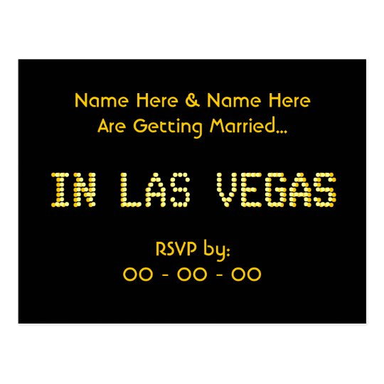RSVP Postcard. Black & Yellow.  Las Vegas Wedding. Postcard