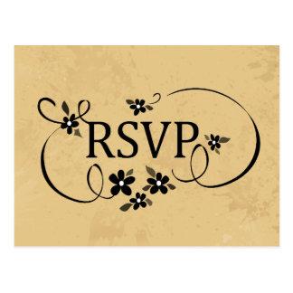 RSVP PostCard - Tan & Black Fancy Floral Scroll