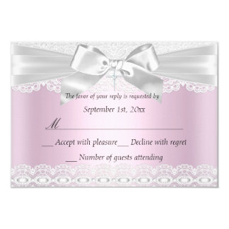 Rsvp Pretty Pink Lace Cross Baptism 3x5 Card