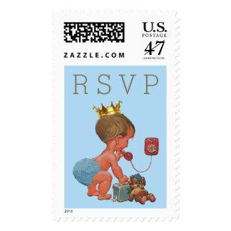 RSVP Prince on Phone Baby Shower Postage Stamp