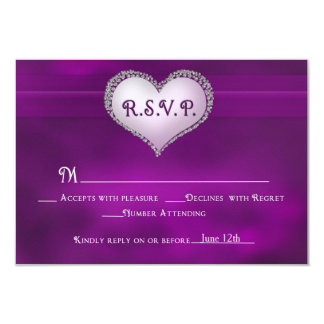 RSVP - PURPLE AND FAUX JEWEL HEARTS CARD