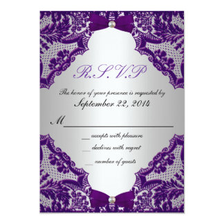 RSVP Purple And Silver Wedding Invitation