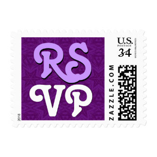 RSVP Purple and White Modern Playful Letters R142 Stamps