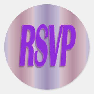 rsvp purple classic round sticker