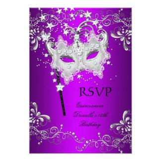 RSVP Purple Quinceanera 15th Birthday Masquerade Custom Announcement