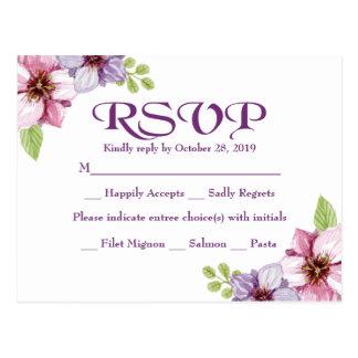 RSVP Purple Watercolor Floral Wedding Postcard