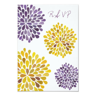 RSVP Purple Yellow Floral Blooms Wedding Card