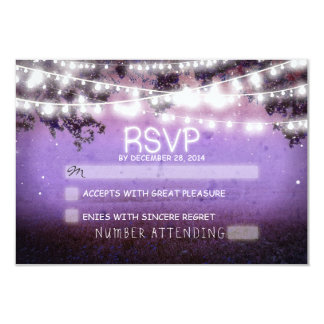"""rsvp púrpura del boda de las linternas de la noche invitación 3.5"""" x 5"""""""