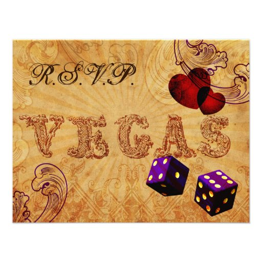 rsvp púrpura del boda de Vegas del vintage de los  Invitacion Personal