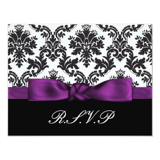 "rsvp púrpura del damasco invitación 4.25"" x 5.5"""