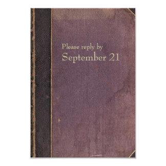 """Rsvp púrpura del libro del vintage invitación 3.5"""" x 5"""""""