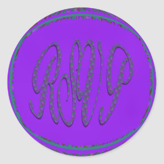 rsvp púrpura del trullo pegatina redonda