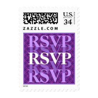 RSVP púrpura y blanco W09 que se casa moderno Estampilla