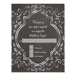 RSVP Quatrefoil Frame Script Swirl Chalkboard Card