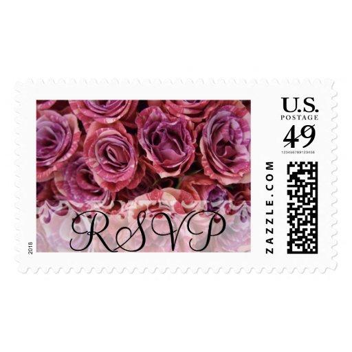 RSVP que casa franqueo color de rosa púrpura