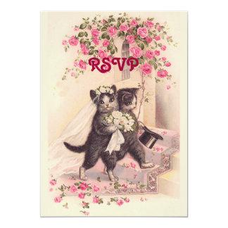 RSVP que casa gatos en la invitación rosada suave
