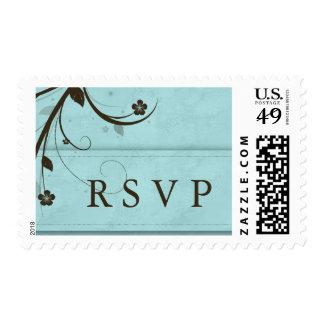 RSVP que casa la flor azul acuosa del sello