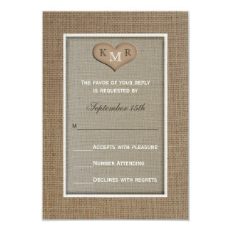RSVP que casa la invitación -- Arpillera Invitación 8,9 X 12,7 Cm