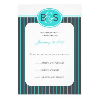 RSVP que casa la invitación -- Monograma azul
