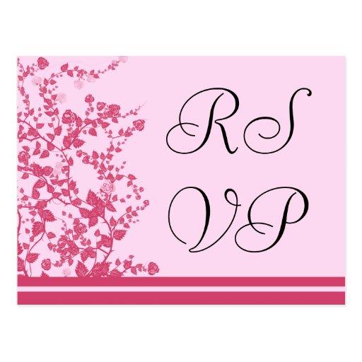 RSVP que casa las postales color de rosa