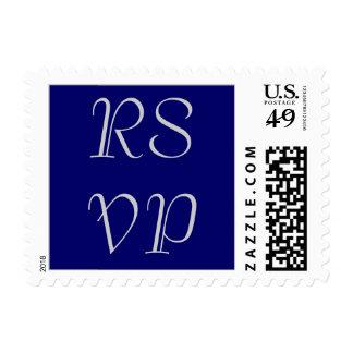 RSVP que casa los sellos, gris plateados en azules Sellos Postales