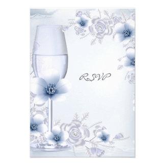 RSVP que casaba los flores subió la plata azul flo Invitaciones Personalizada