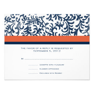 RSVP que se casa azul y anaranjado Invitación