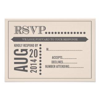 RSVP que se casa beige y gris de la escritura mode Invitacion Personal