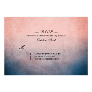 RSVP que se casa bohemio azul y rosado rústico Anuncio Personalizado