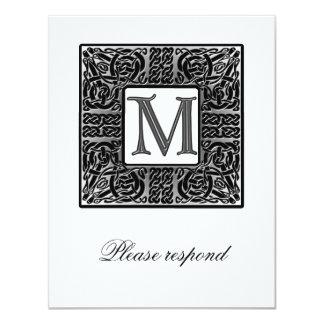 RSVP que se casa céltico con monograma de plata Invitación 10,8 X 13,9 Cm