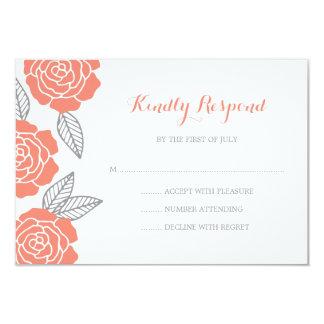 """RSVP que se casa color de rosa gris y coralino Invitación 3.5"""" X 5"""""""