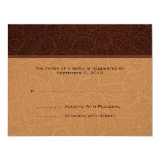 RSVP que se casa de cuero impreso Invitación 10,8 X 13,9 Cm