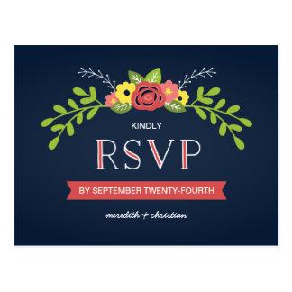 RSVP que se casa elegante el | rústico floral Tarjetas Postales