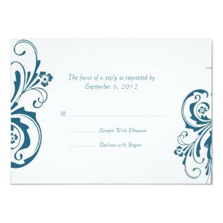 RSVP que se casa elegante floral azul y blanco Invitacion Personalizada